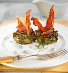 recetas-alcachofas-asadas-con-jamon