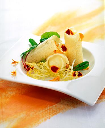 Canutillos de pan con crema de queso