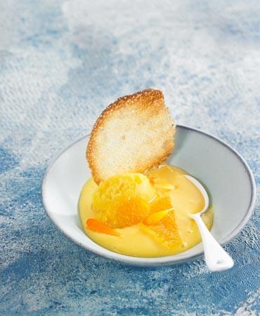 recetas-crema-de-naranja-bio-con-sorbete-de-azafran-y-galleta-crujiente