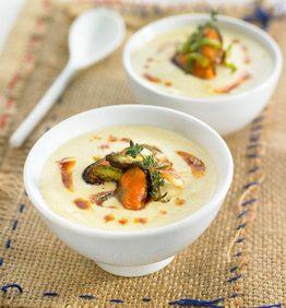 recetas-crema-de-puerros-con-escabeche-de-mejillones