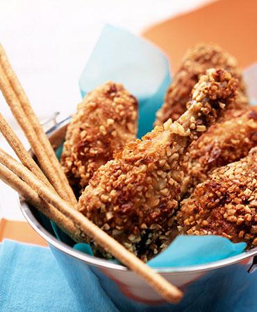 Jamoncitos de pollo rebozados en almendra