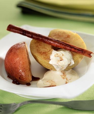 Manzanas con canela y yogur