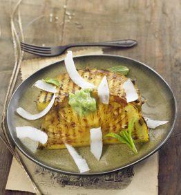 recetas-pina-a-la-plancha-quemada-al-ron-con-granizado-de-menta-y-coco