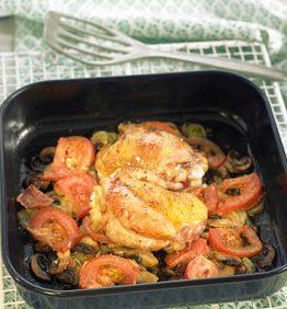 recetas-pollo-con-salsa-de-chile-dulce-sobre-el-lecho-de-verduras