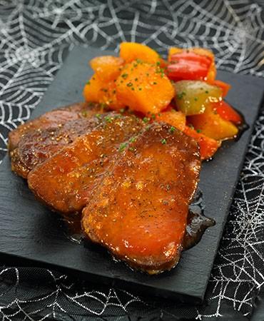 recetas-seitan-en-salsa-agridulce-con-dados-de-calabaza