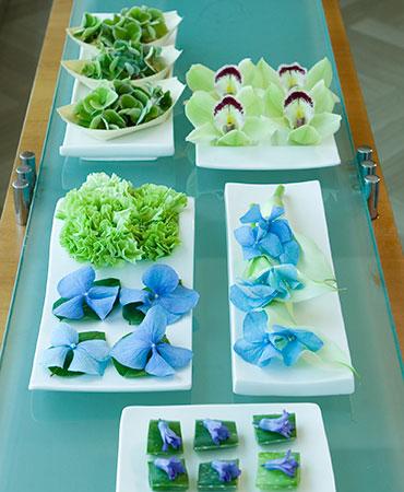 estilo en la mesa tapa de flores