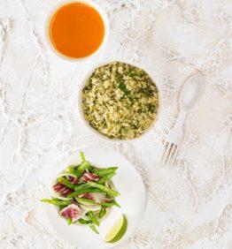 recetas-tupper light quinoa verde y ensalada de judias verdes hinojo y radicchio 370x450