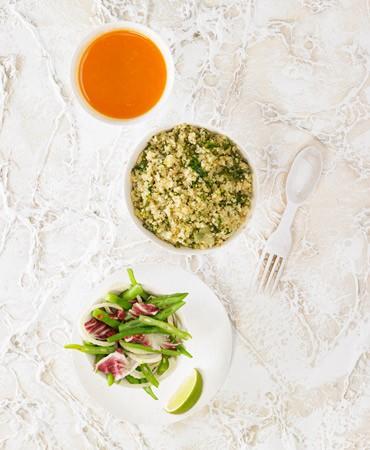 recetas-tupper light quinoa verde y ensalada de judias verdes hinojo y radicchio 370×450