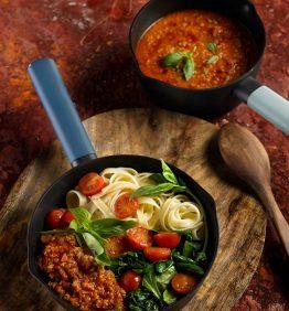 una receta con linguine pasta y soja soja texturizada receta apto para veganos