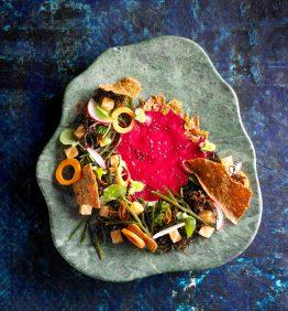 verduras con salmon ahumado