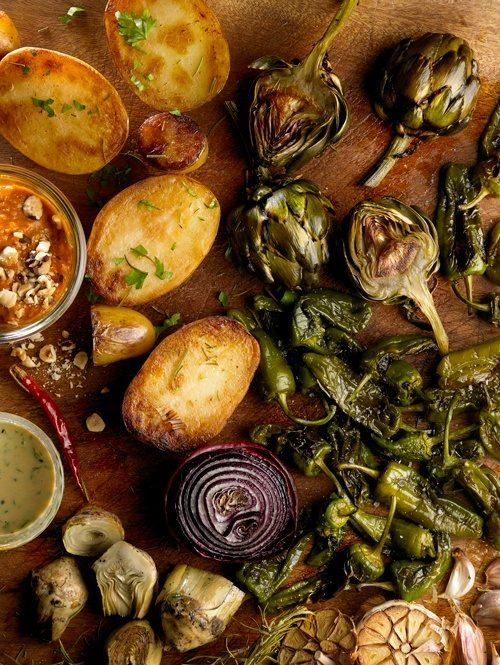 verduras asadas en la plancha